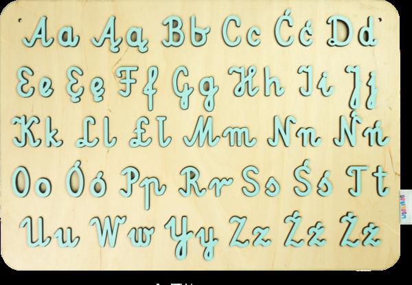 Drewniana układanka ALFABET pisany