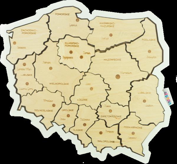 Drewniana układanka MAPA POLSKI